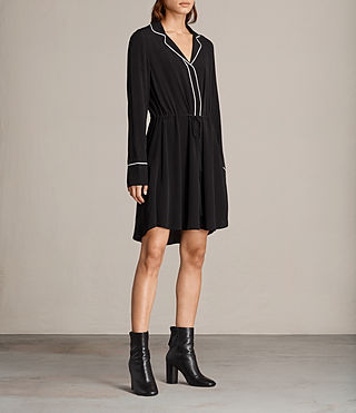 Women's Leon Shirt Dress (Black) - product_image_alt_text_4