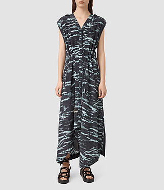 Women's Tate Tye Silk Dress (BLACK/CYAN)