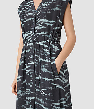 Mujer Tate Tye Dress (BLACK/CYAN) - product_image_alt_text_2