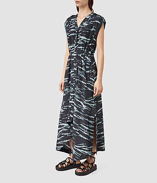 Donne Tate Tye Silk Dress (BLACK/CYAN) - product_image_alt_text_3