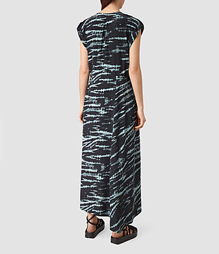 Donne Tate Tye Silk Dress (BLACK/CYAN) - product_image_alt_text_4
