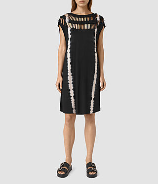 Damen Slash Tie Dye Tee Dress (Black/Chalk)