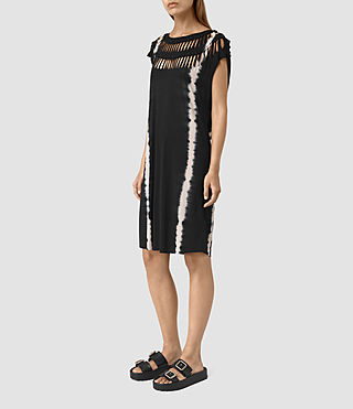 Mujer Slash Tie Dye Tee Dress (BLACK/CHALK) - product_image_alt_text_3