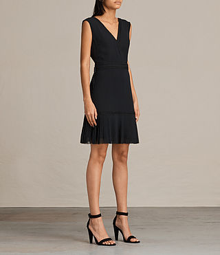 Womens Keena Pleat Dress (Black) - product_image_alt_text_3