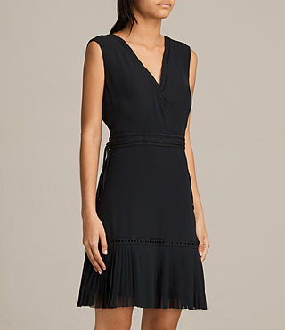 Womens Keena Pleat Dress (Black) - product_image_alt_text_5