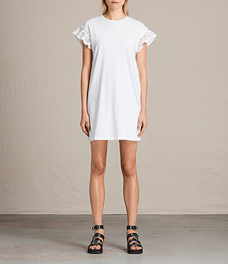 Womens Trixi Ruffle Dress (Chalk White)