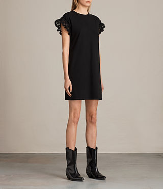 Womens Trixi Ruffle Dress (Black) - product_image_alt_text_5