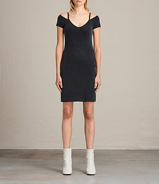 Womens 보스트 드레스 (Washed Black) - product_image_alt_text_1