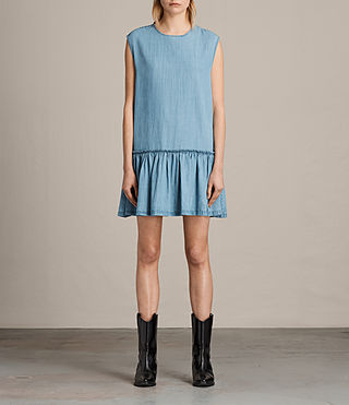 Womens Polly Ruffle Dress (MID INDIGO BLUE) - product_image_alt_text_1