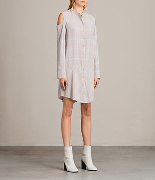 Womens Floria Check Dress (Pearl) - product_image_alt_text_3