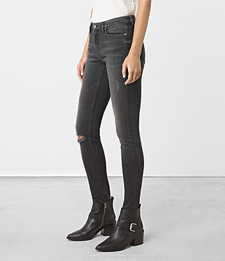 Womens Mast Damaged Jeans (Black) - product_image_alt_text_1