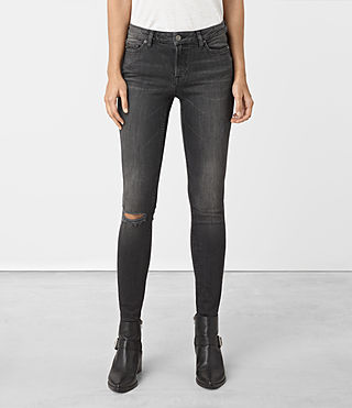Womens Mast Damaged Jeans (Black) - product_image_alt_text_2