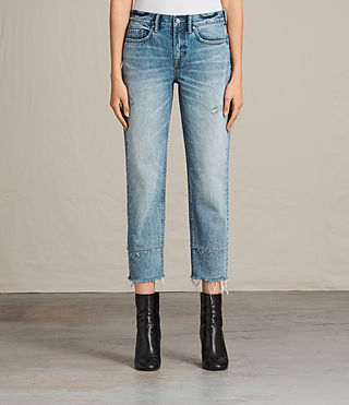 Femmes Jean Boyfriend Frayed (LIGHT INDIGO BLUE) - Image 1
