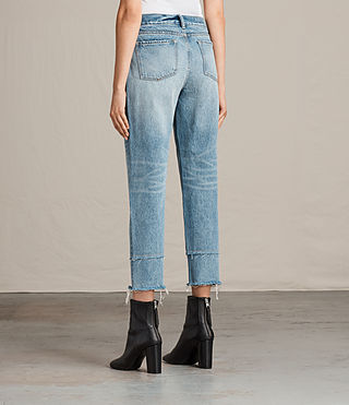 Femmes Jean Boyfriend Frayed (LIGHT INDIGO BLUE) - Image 2