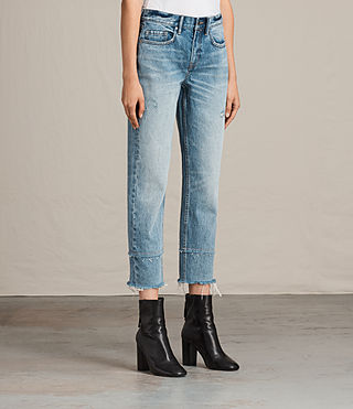 Femmes Jean Boyfriend Frayed (LIGHT INDIGO BLUE) - Image 4