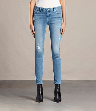 Womens Mast Destroys Jeans (LIGHT INDIGO BLUE) - product_image_alt_text_1