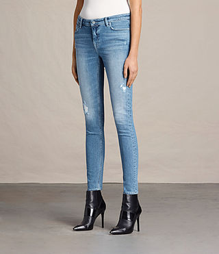 Womens Mast Destroys Jeans (LIGHT INDIGO BLUE) - product_image_alt_text_4