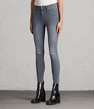 Damen Grace Slashed Jeans (Grey) - product_image_alt_text_4