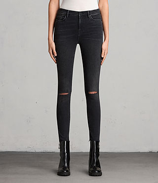 Womens Grace Slashed Jeans (Washed Black)