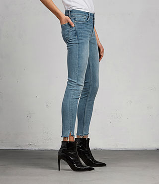 Womens Grace Ankle Fray Jeans (LIGHT INDIGO BLUE) - Image 3