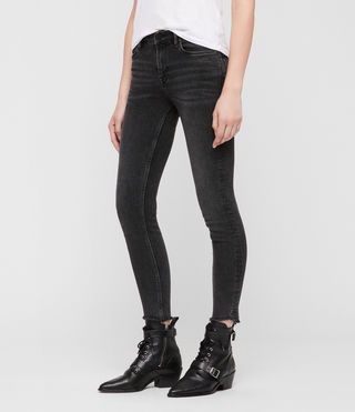 Damen Grace Ausgefranste Jeans (Washed Black) - Image 1