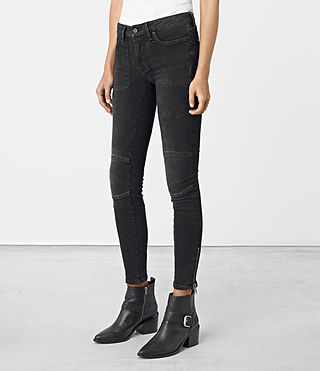 Womens Biker Patched Pocket Jeans (Washed Black)