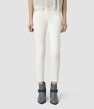 Womens Biker Cropped Jeans (Off White)