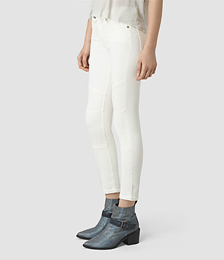 Women's Biker Cropped Jeans (Off White) - product_image_alt_text_2