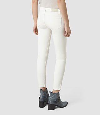 Women's Biker Cropped Jeans (Off White) - product_image_alt_text_3