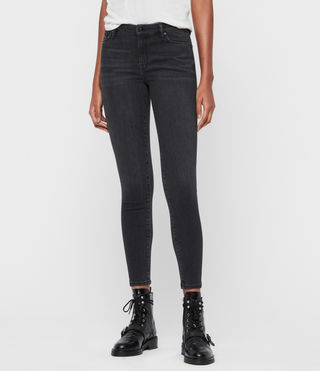 Grace Mid-Rise Ankle Skinny Jeans, Washed Black
