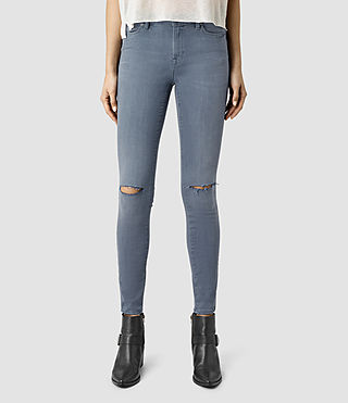 Womens Grace Slashed Jeans (Blue)