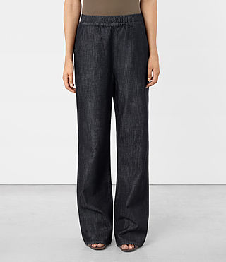 Womens Bloom Denim Sweatpants (DARK INDIGO BLUE)