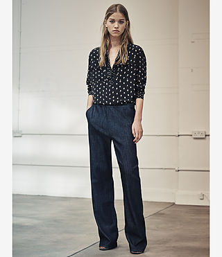 Womens Bloom Denim Lounge Pants (DARK INDIGO BLUE) - product_image_alt_text_5