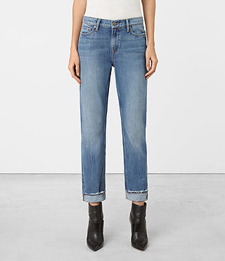 Womens Jo Straight Leg Jeans (MID INDIGO BLUE) - product_image_alt_text_1