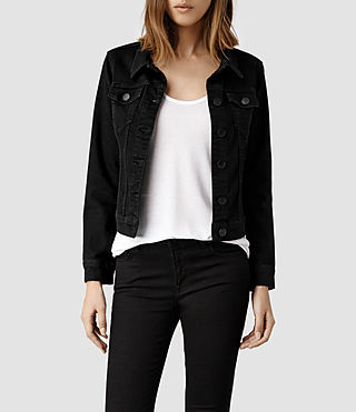Womens Denim Jacket/Black (Black)