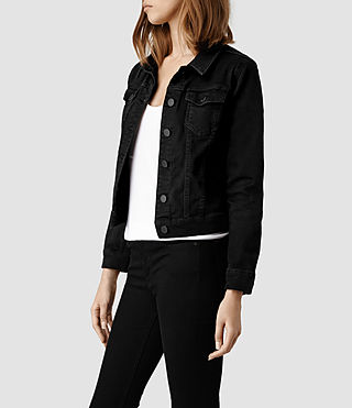 Women's Denim Jacket/Black (Black) - product_image_alt_text_2