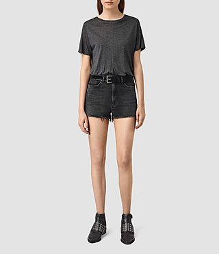 Womens Mabel Highwaisted Cut Shorts (Washed Black)