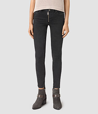 Women's Track Ankle Jeans (Washed Black)