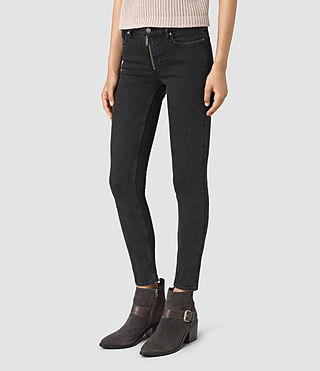 Womens Track Ankle Jeans (Washed Black) - product_image_alt_text_2