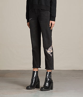 Women's Birds Cropped Embroidered Boys Jeans (Washed Black) - product_image_alt_text_3