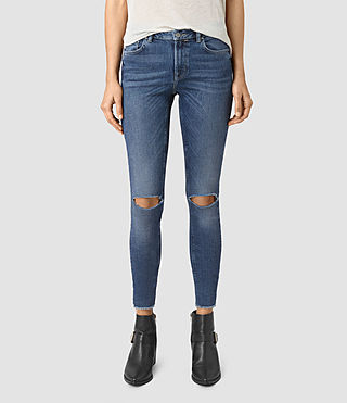Womens Stilt Cropped Jeans (DARK INDIGO BLUE)
