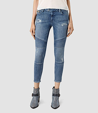 Donne Biker Destroyed Cropped Jeans (Indigo Blue)