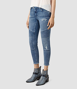 Women's Biker Destroyed Cropped Jeans (Indigo Blue) - product_image_alt_text_2
