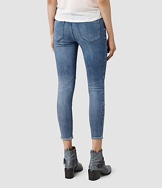 Women's Biker Destroyed Cropped Jeans (Indigo Blue) - product_image_alt_text_3