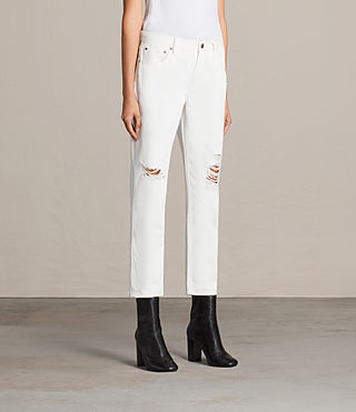 Women's Muse Slim Destroy Jeans (Chalk White) - Image 3
