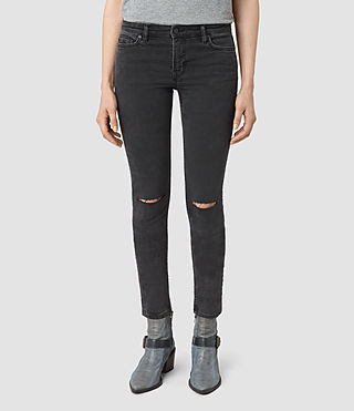 Womens Mast Shredded Jeans (Washed Black) - product_image_alt_text_1