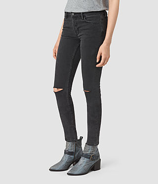 Womens Mast Shredded Jeans (Washed Black) - product_image_alt_text_2