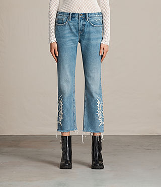 Women's Philly Embroidered Boys Jeans (Indigo Blue)