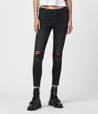 Grace Cropped Ankle Fray Mid-Rise Skinny Jeans, Washed Black