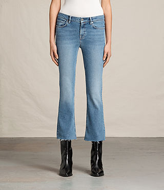 Femmes Jean bootcut Zoe court (LIGHT INDIGO BLUE)